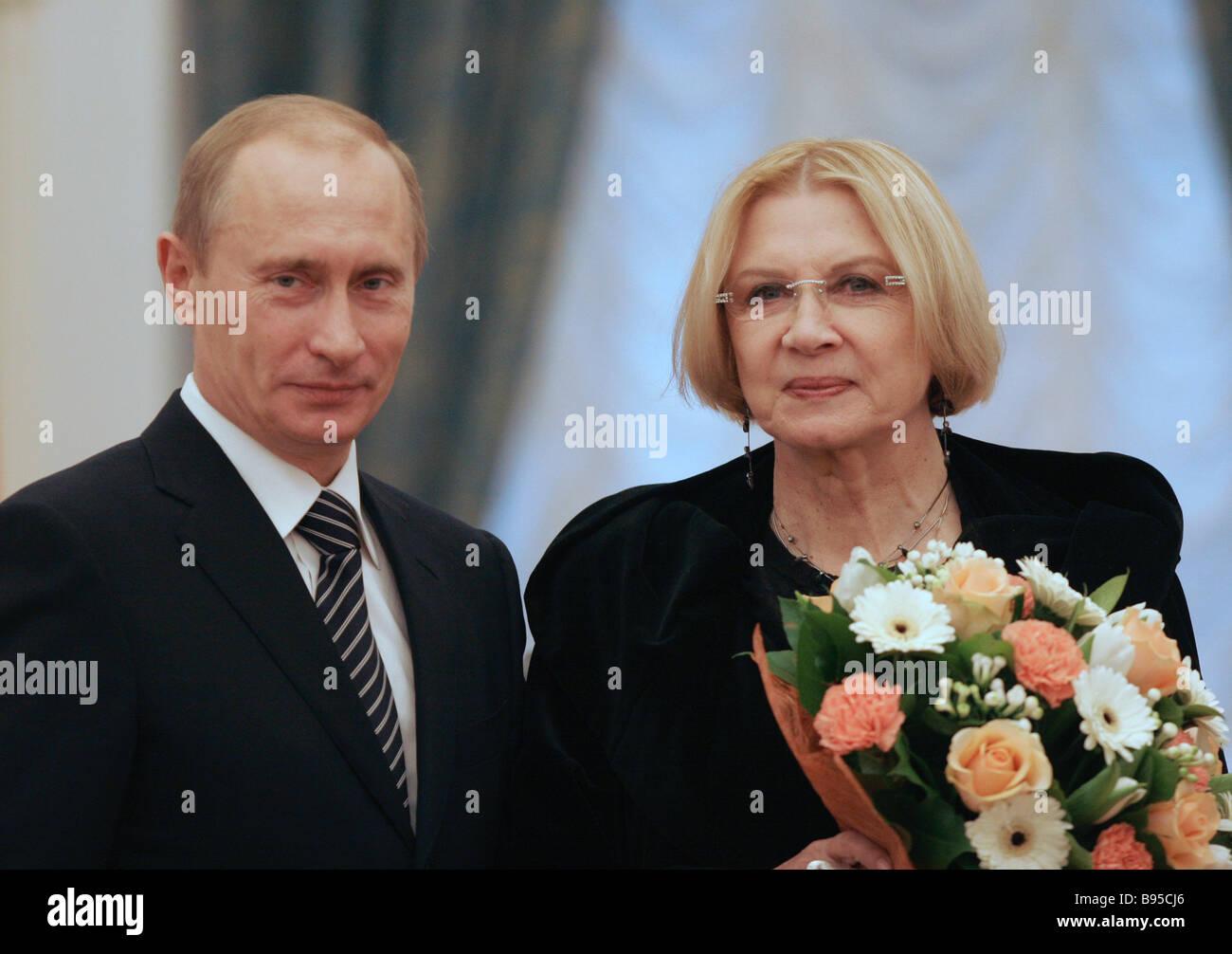 Russian President Vladimir Putin awarding actress Alla Demidova the Order For Services to the Fatherland IV degree Stock Photo