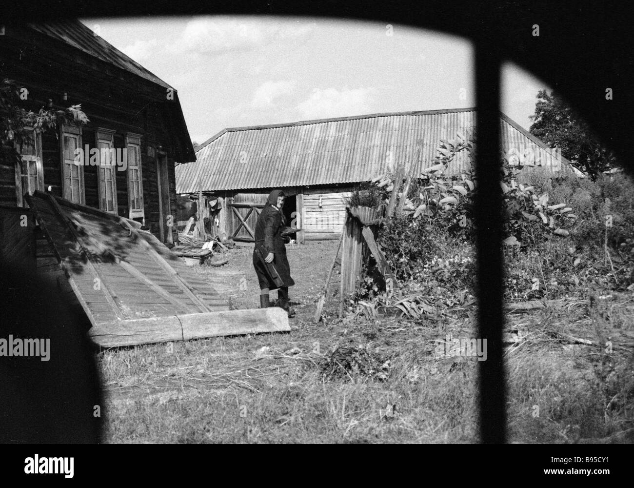 A woman from Braginsky district affected by the Chernobyl disaster refused to leave her home within the contamination - Stock Image