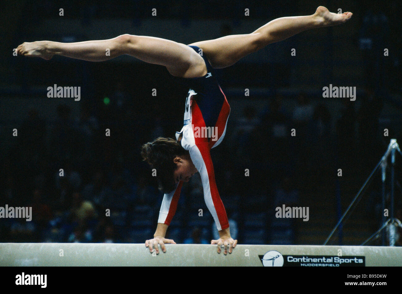 SPORT Gymnastics Beam Female gymnast on the beam exercise during the World Student Games in Sheffield England - Stock Image