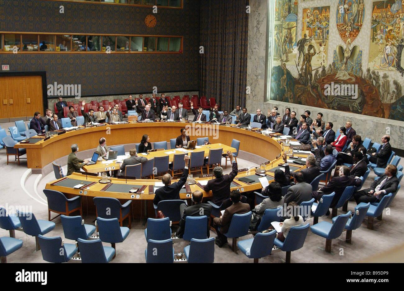 A UN Security Council session - Stock Image