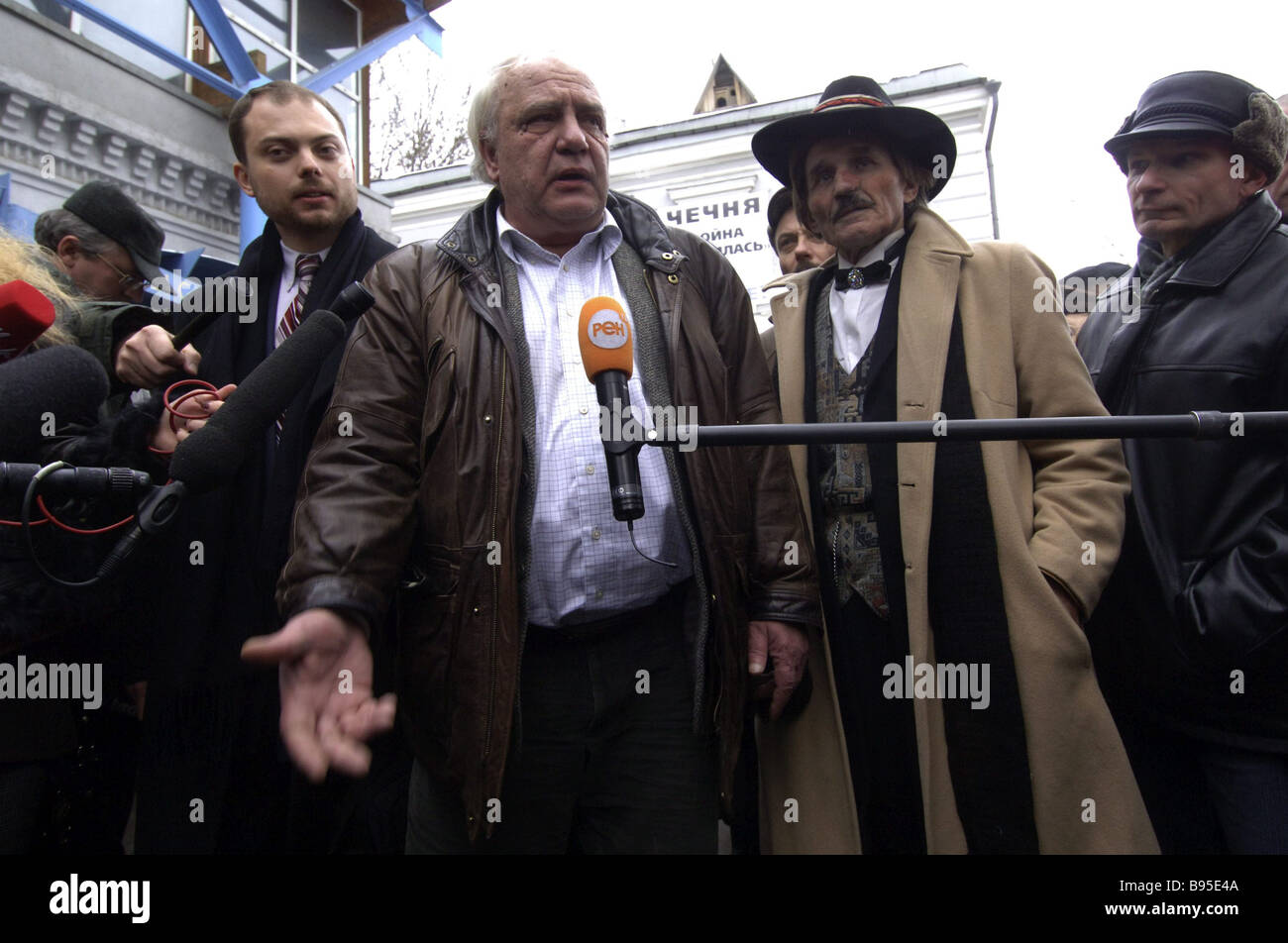 An initiative group for nominating Vladimir Bukovsky center a human rights activist and a former Soviet dissident - Stock Image