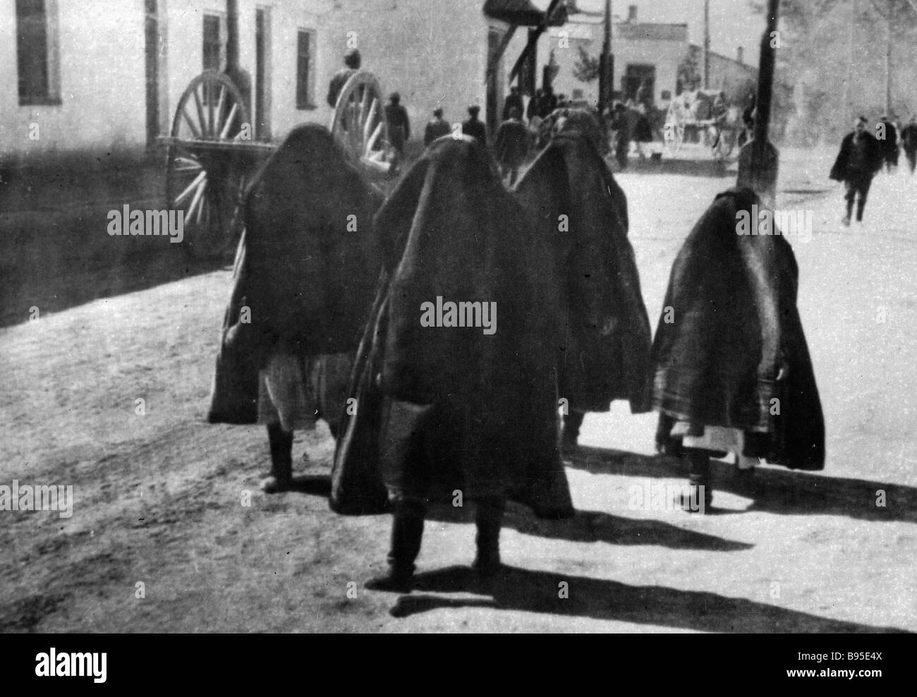 Uzbek women wearing yashmaks - Stock Image