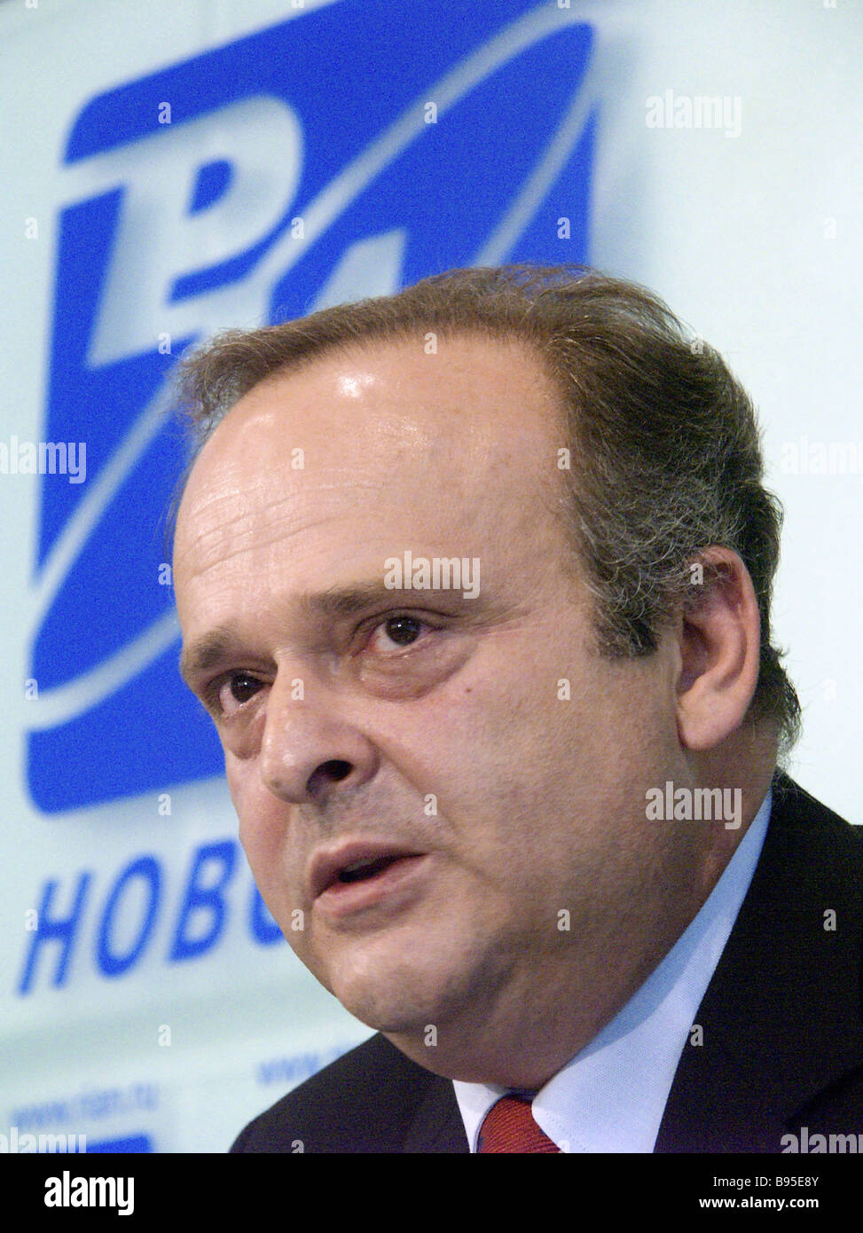 Teimuraz Gamtsemlidze Georgia s temporary charge d affaires in Russia at a RIA Novosti s press conference - Stock Image