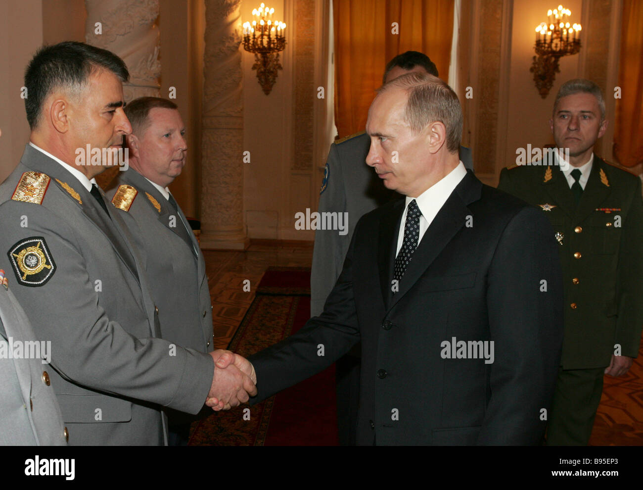 Chechen Interior Minister Ruslan Alkhanov left and President Vladimir Putin right in St George Hall of the Grand - Stock Image