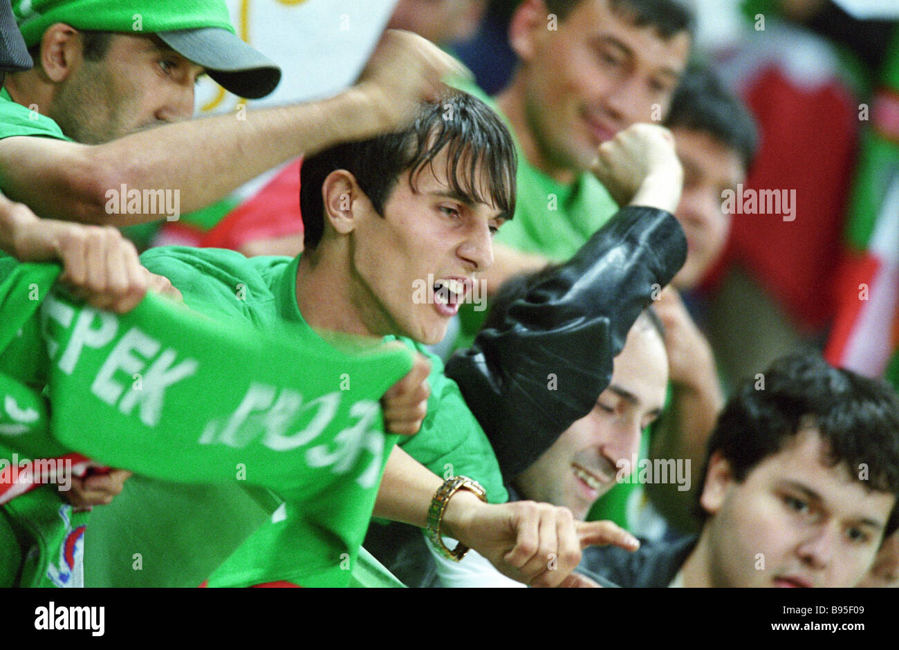 Fans of Terek Grozny at the Lokomotiv sports stadium A match between Terek and Poland s Lech on August 12 - Stock Image