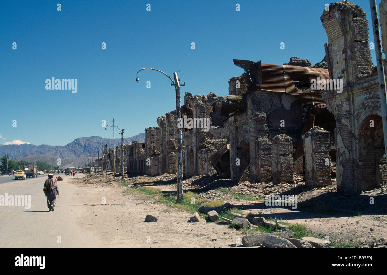 AFGHANISTAN Kabul Badly damaged housing lining street. - Stock Image
