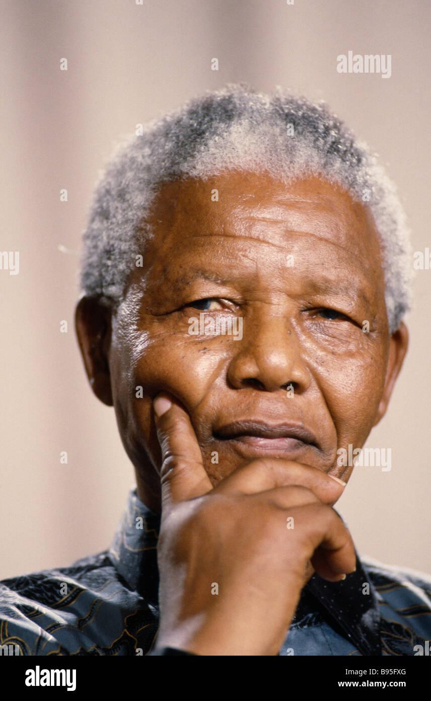 SOUTH AFRICA People Politics Portrait of former president Nelson Mandela. - Stock Image