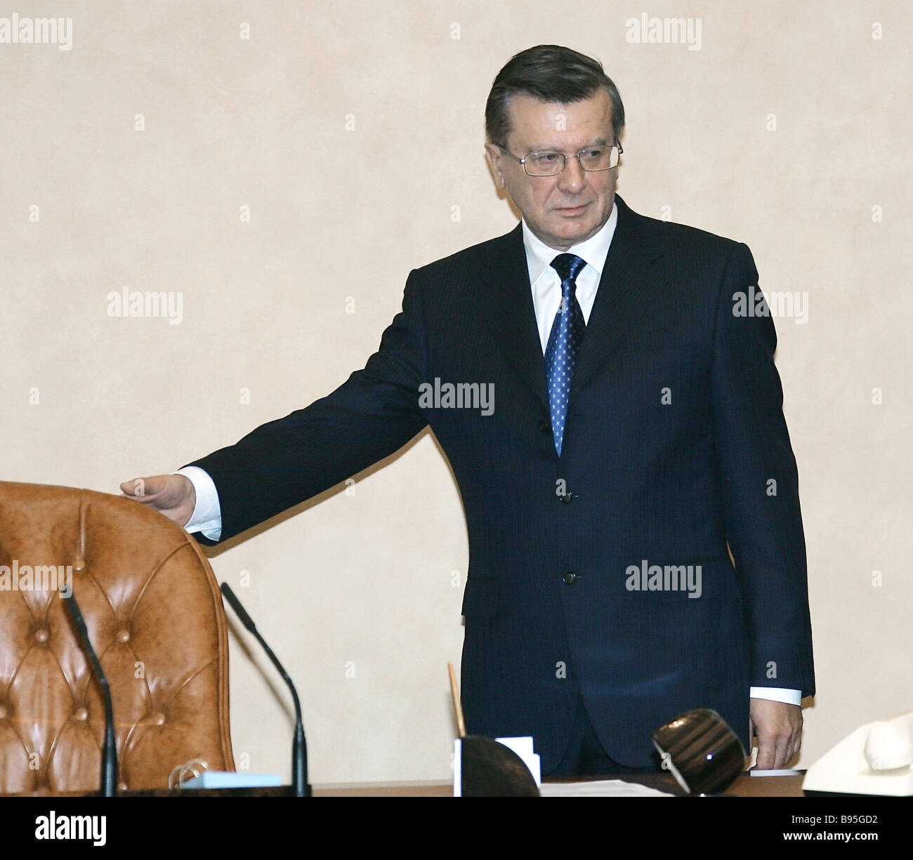 December 20 2007 Russian Prime Minister Viktor Zubkov at a Government meeting - Stock Image