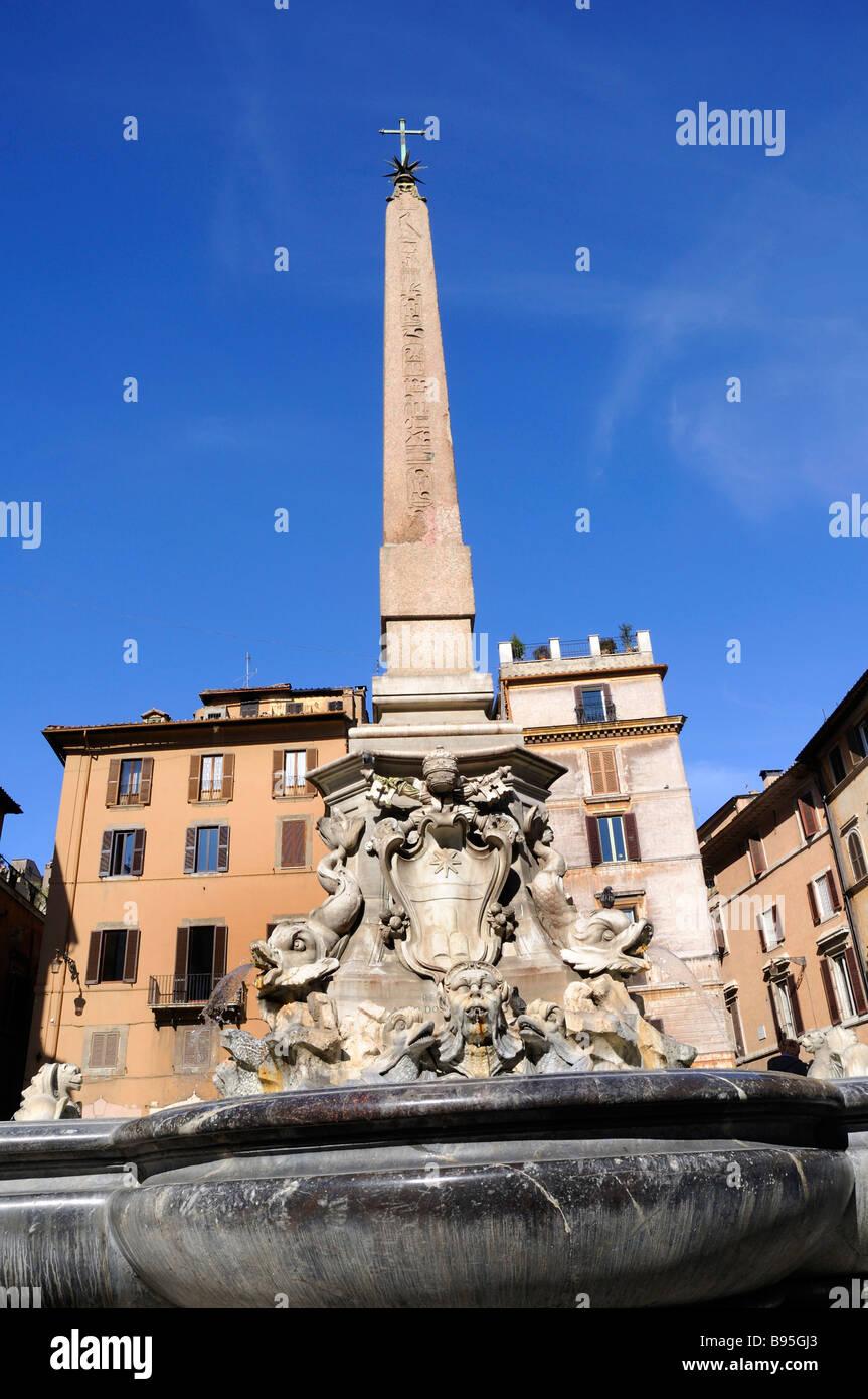 Fountain on the Piazza della Rotonda and the Roman Pantheon in Rome Italy Stock Photo