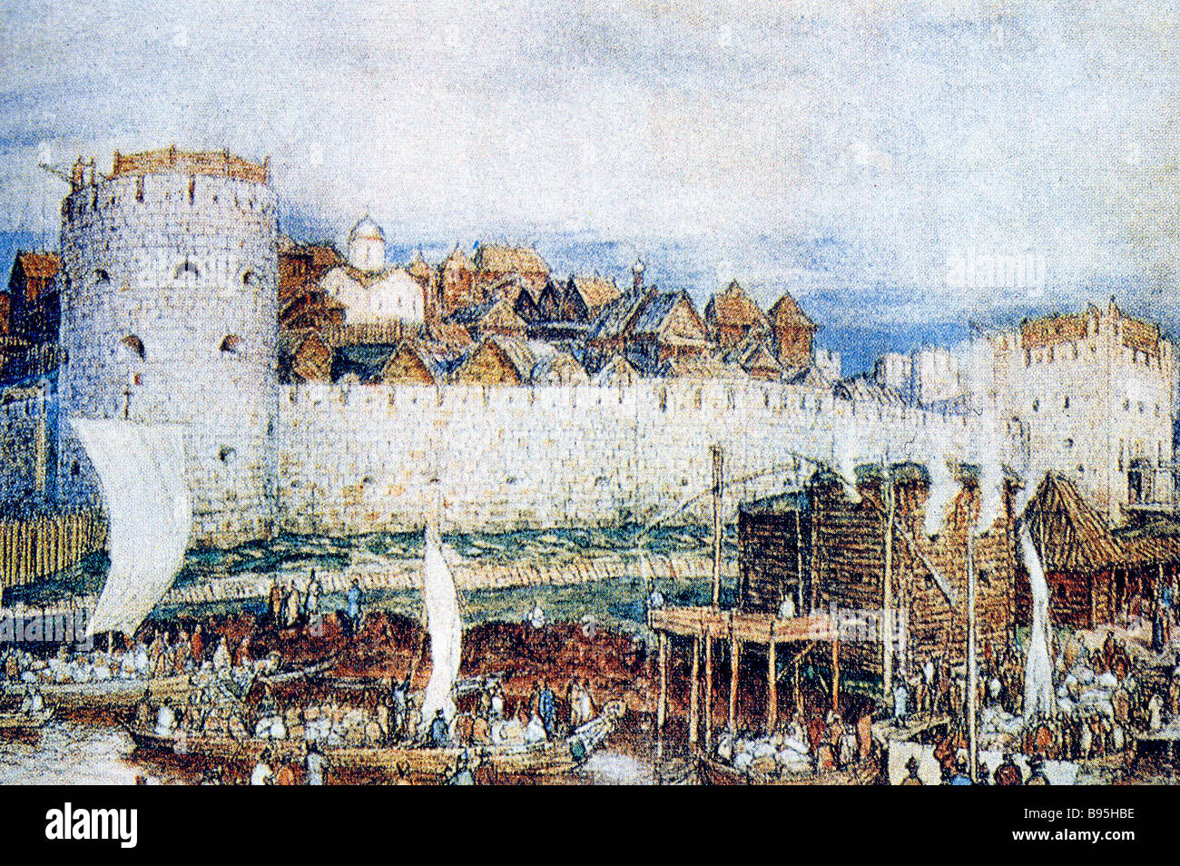The Moscow Kremlin during the reign of Dmitry Donskoy A watercolor by A Vasnetsov The Museum of Moscow History and - Stock Image