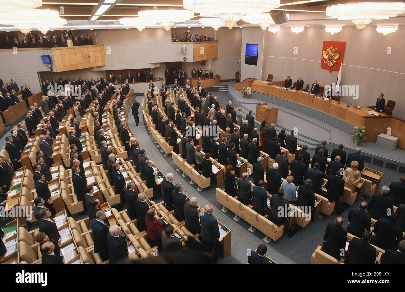 The first plenary meeting of the fifth State Duma - Stock Image