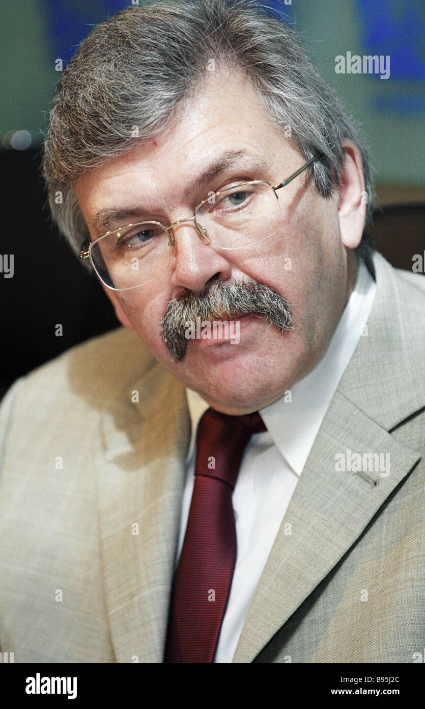 Vladimir Sokolin head of the Federal State Statistical Service attends RIA Novosti news conference devoted to incipient - Stock Image