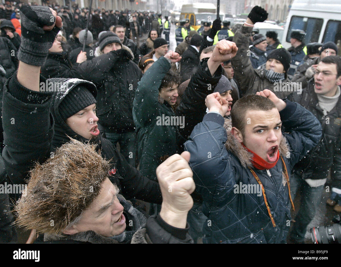 Belarusian private entrepreneurs blocked Independence Avenue the central thoroughfare of Minsk close to the Government - Stock Image