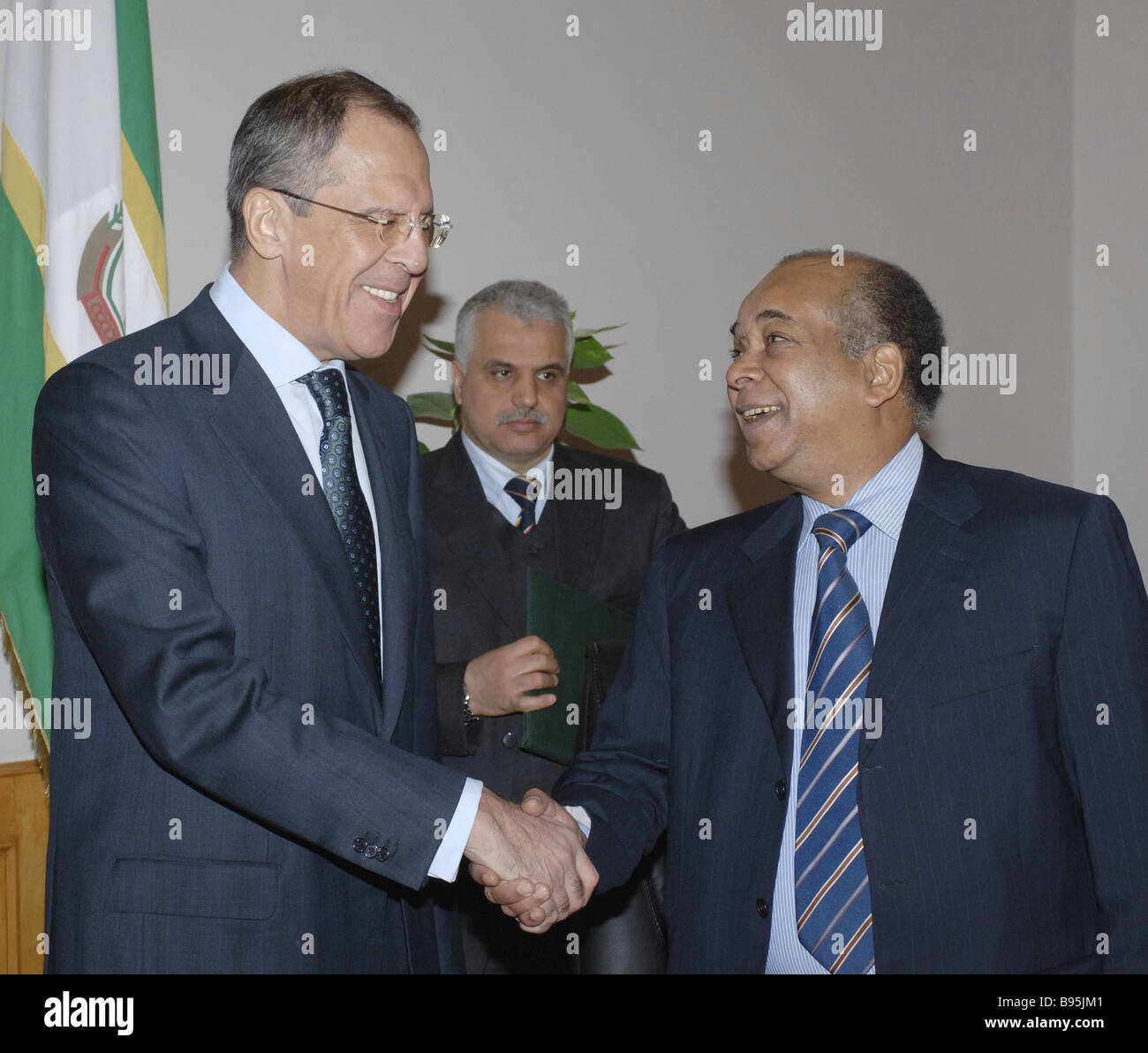 During a visit to Libya Russian Minister of Foreign Affairs Sergei Lavrov left met with his Libyan counterpart Abd Stock Photo