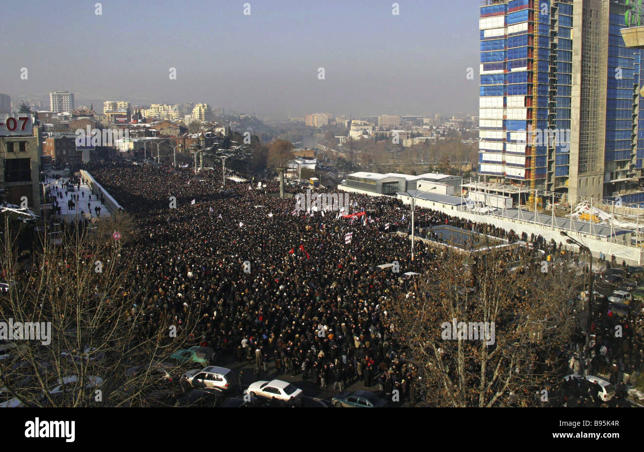 Thousands of people attended an opposition rally in downtown Tbilisi - Stock Image