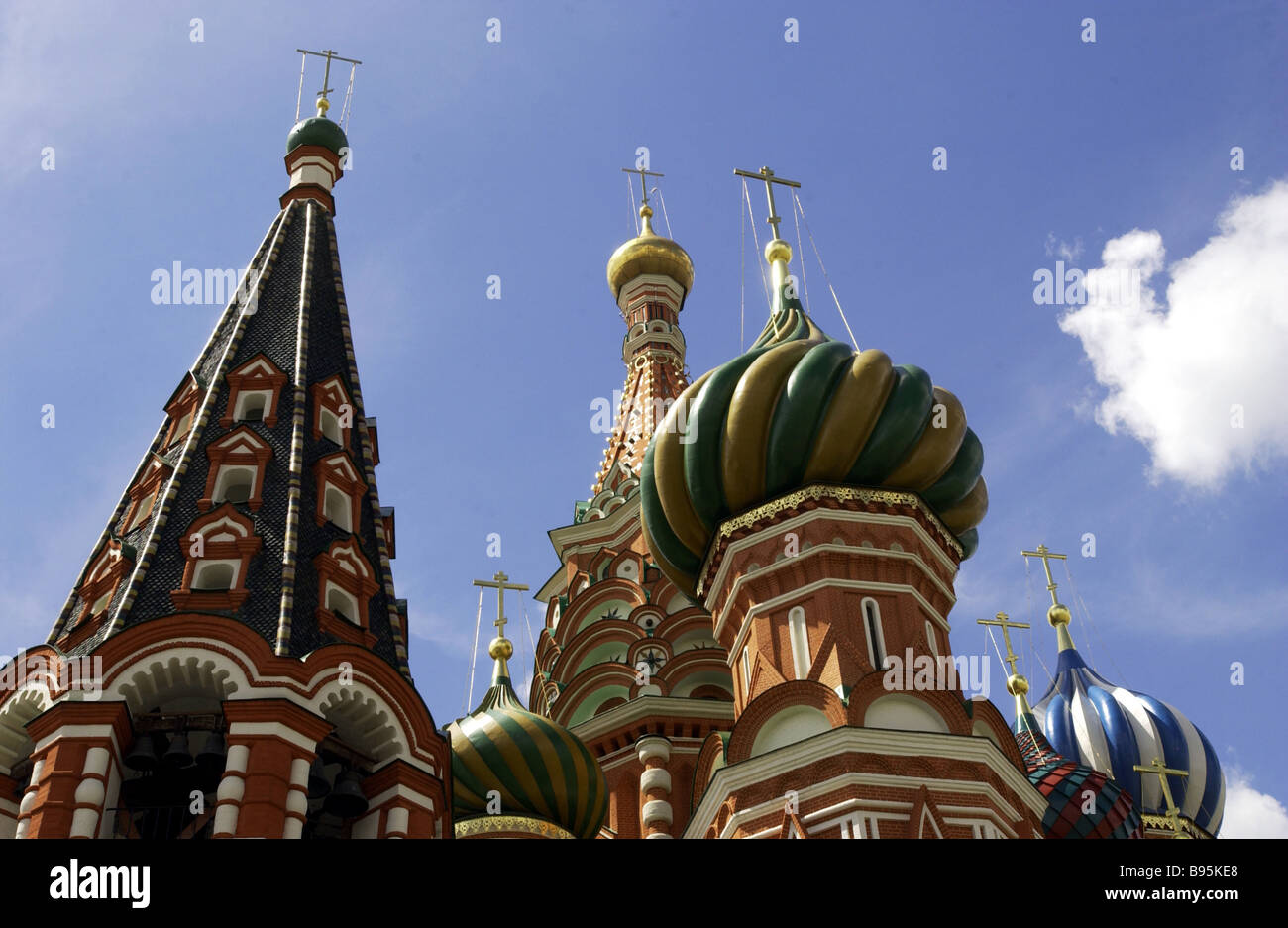 The cupolas of St Basil s Cathedral in Red Square - Stock Image