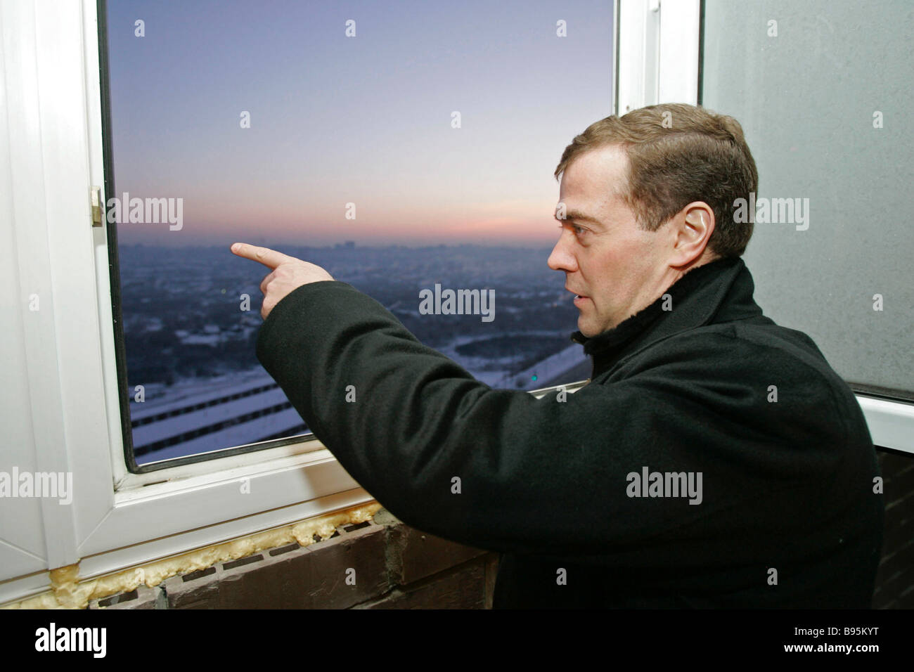 January 16 2008 First Deputy Prime Minister Dmitry Medvedev watching the construction of the Third Zarechny District - Stock Image