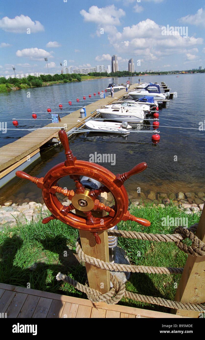 Moorage at Moscow s first ever yacht port Strogino - Stock Image