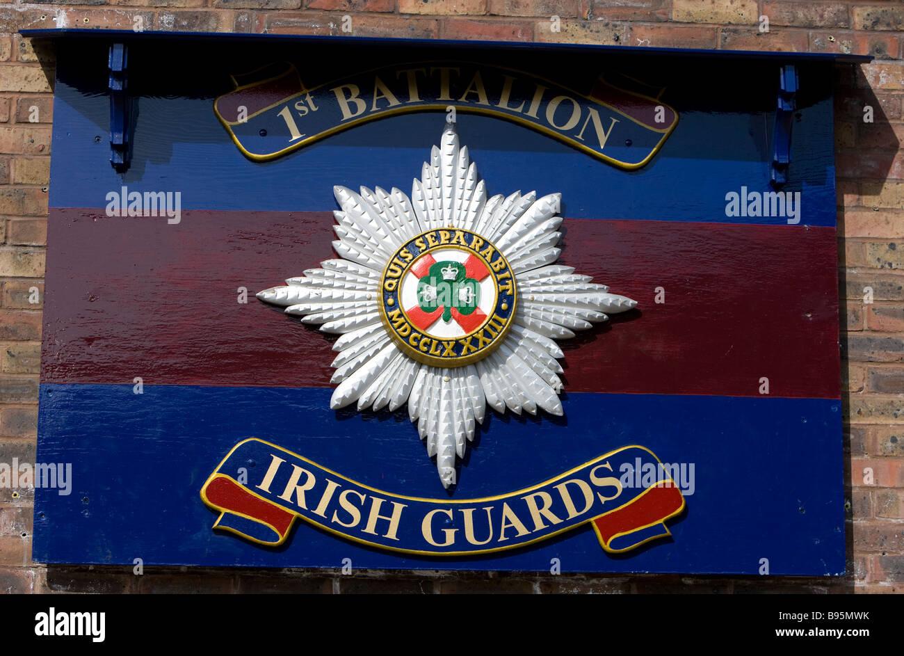 The 1st Battalion the Irish Guards sign at Victoria Barracks Windsor UK - Stock Image