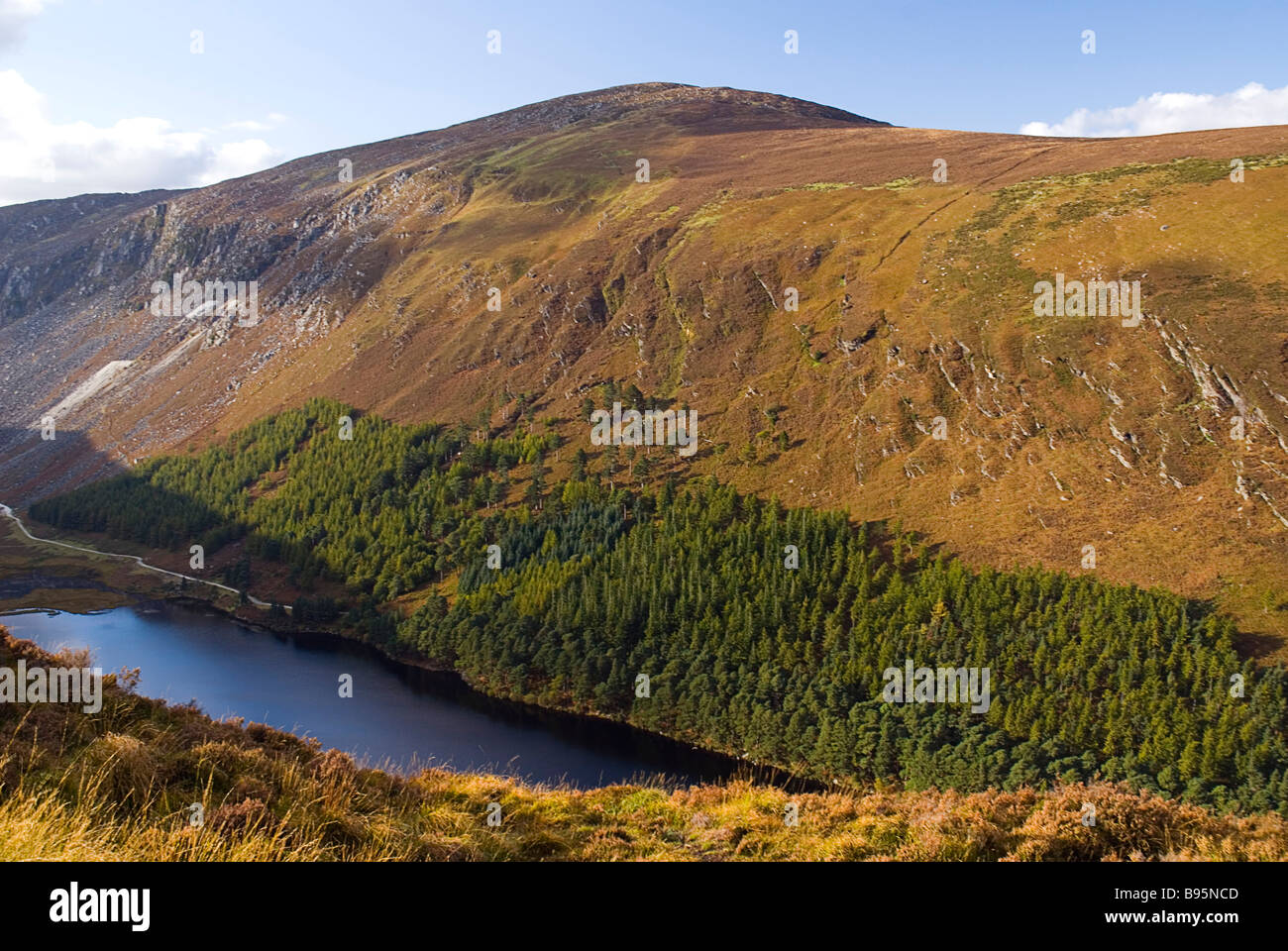 Ireland, County Wicklow, Glendalough. View west from the Spink Walk on the hills above Glendalough. - Stock Image