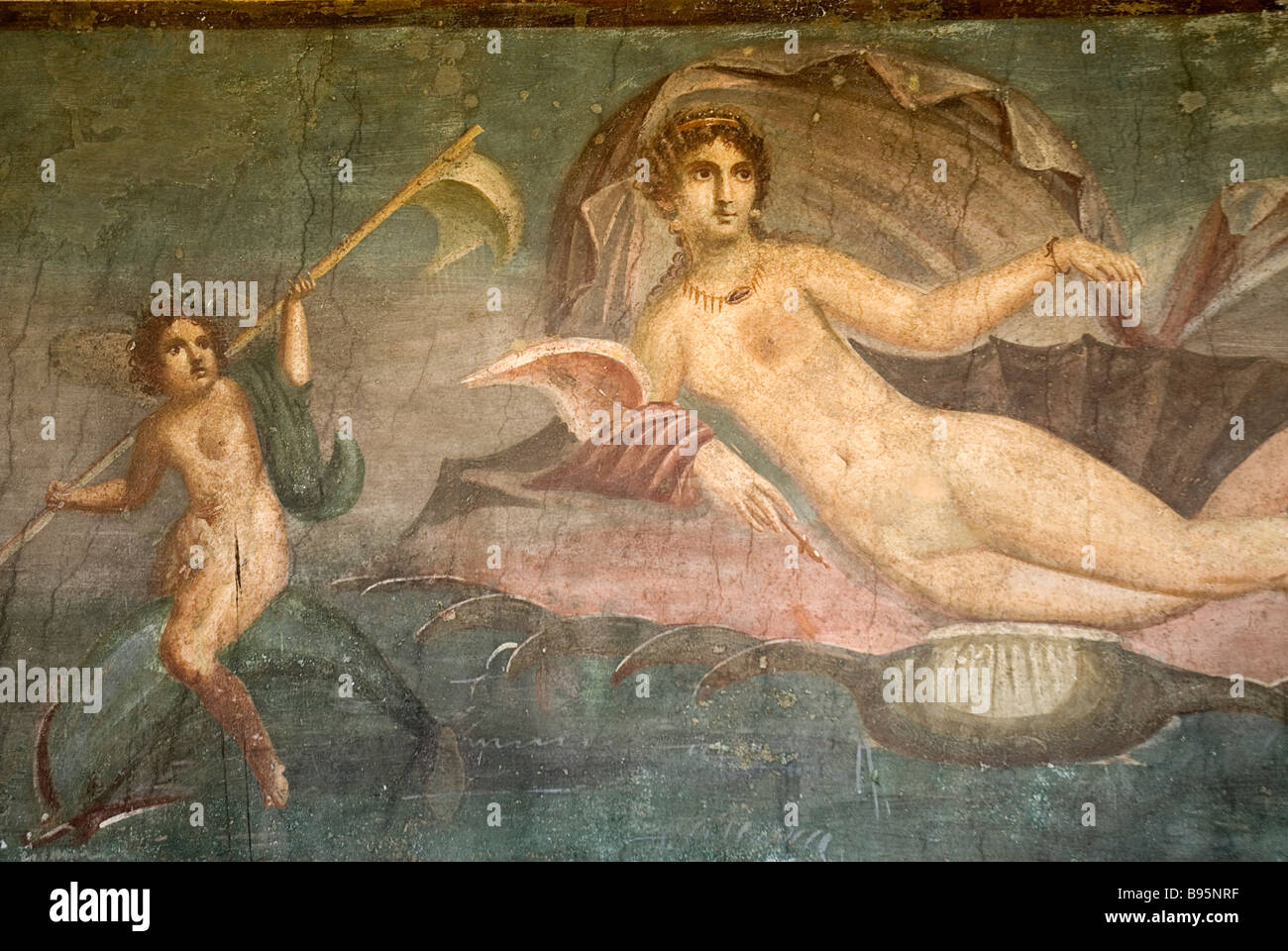 Italy, Campania, Napoli, Pompeii. Fresco giving name to the House of Venus depicting Venus in a shell accompanied - Stock Image