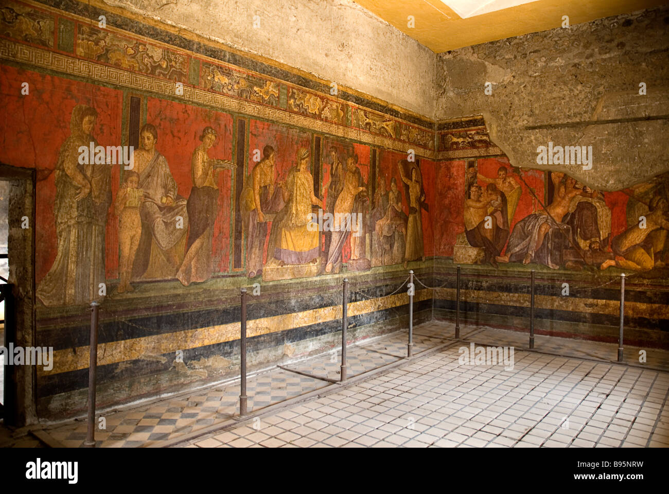 Italy, Campania, Napoli, Pompeii, well preserved frescoes in the Villa Of Mysteries. - Stock Image