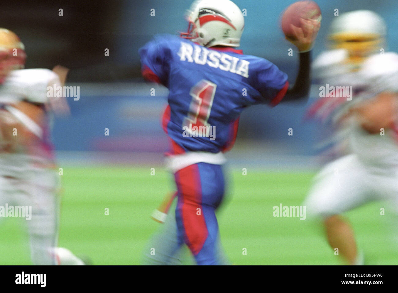 Dmitri Klemekhin No 1 of the Russian team in a meet with France at the European junior football championship - Stock Image