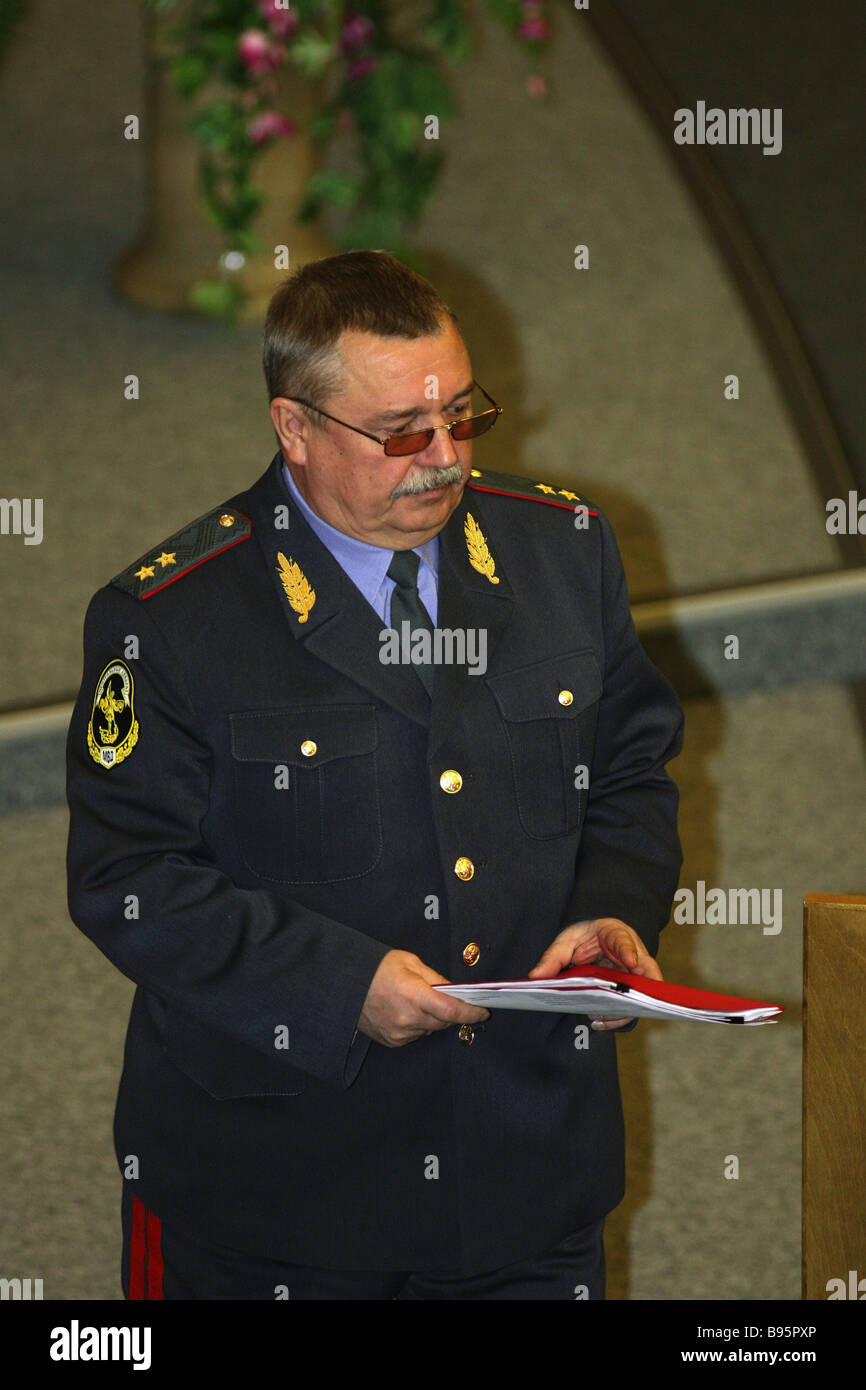 State Secretary Deputy Minister of Internal Affairs Nikolai Ovchinnikov at a plenary session of the State Duma - Stock Image
