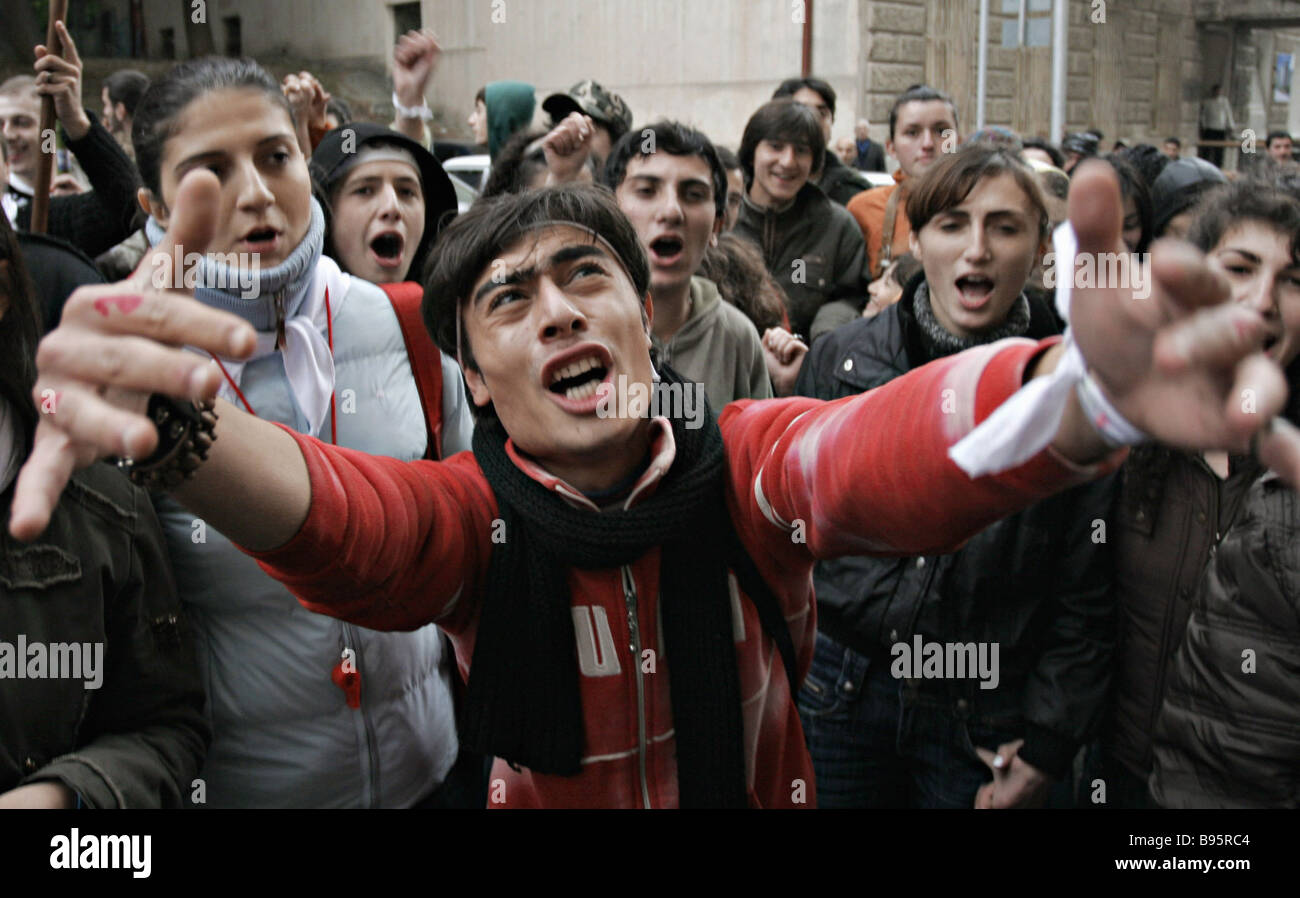 Georgian opposition demonstrators protesting in Tbilisi - Stock Image