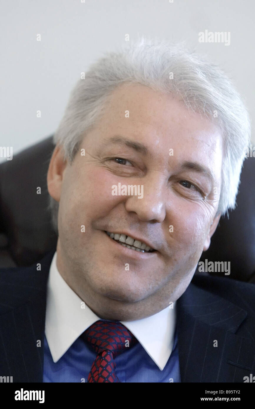 Alexander Savelyev the chairman of the board of directors of St Petersburg Bank gives an interview in his office - Stock Image