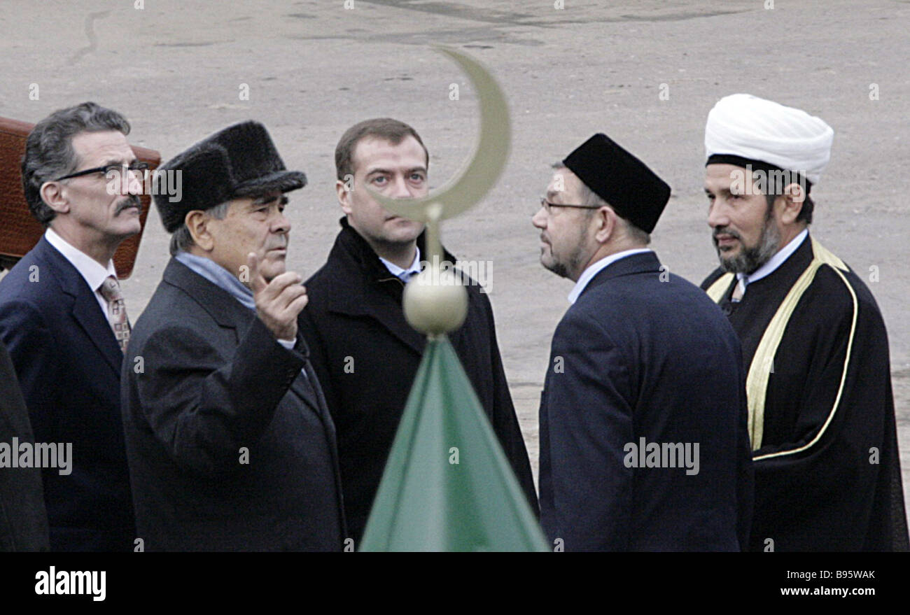 From left to right Tatar Minister of Science and Education Nail Valeyev Tatar President Mintimer Shaimiyev Russian - Stock Image