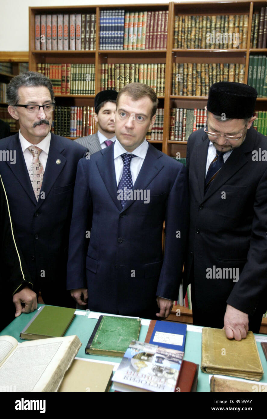From left to right Tatar Minister of Science and Education Nail Valeyev Russian First Deputy Prime Minsiter Dmitry - Stock Image