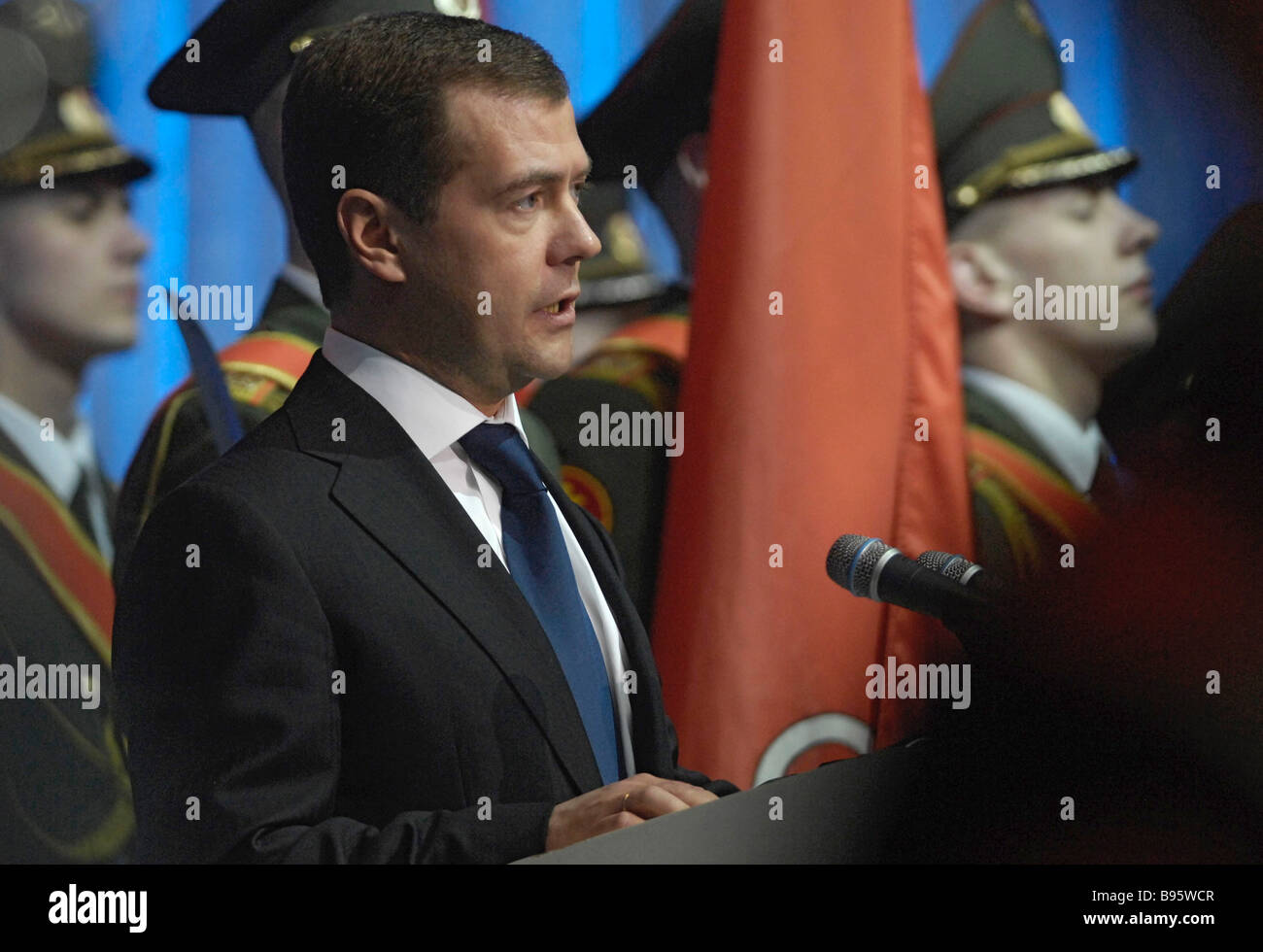 27 January 2008 Dmitry Medvedev First Deputy Chairman of the Russian government addressed the audience in the Oktyabrsky Stock Photo