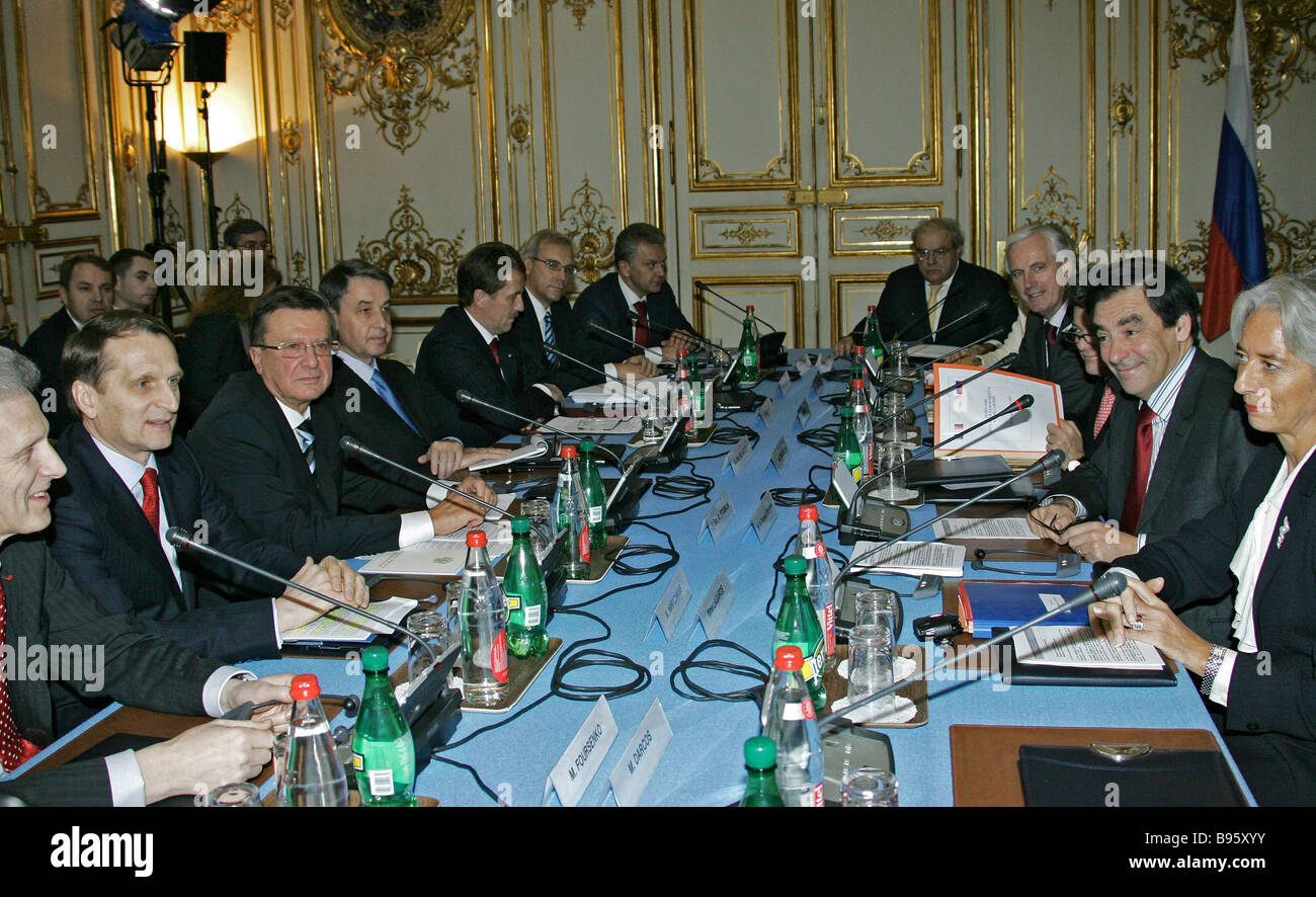 A meeting of Russian French commission on bilateral cooperation the Matignon Palace Paris November 10 2007 - Stock Image
