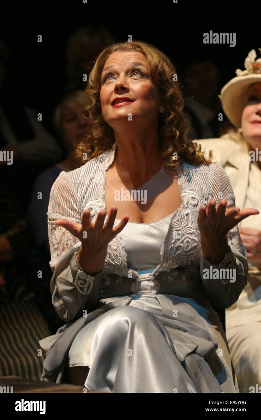 A scene from Anton Chekhov s Seagull in the interpretation of modern writer Boris Akunin staged in Moscow Theatre - Stock Image
