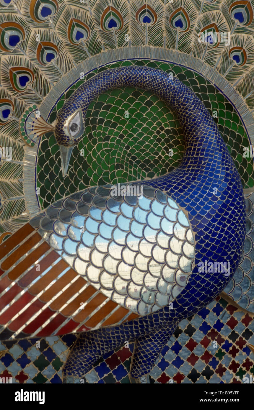 INDIA Rajasthan Udaipur City Palace. Detail of mosaic depicting a peacock. - Stock Image