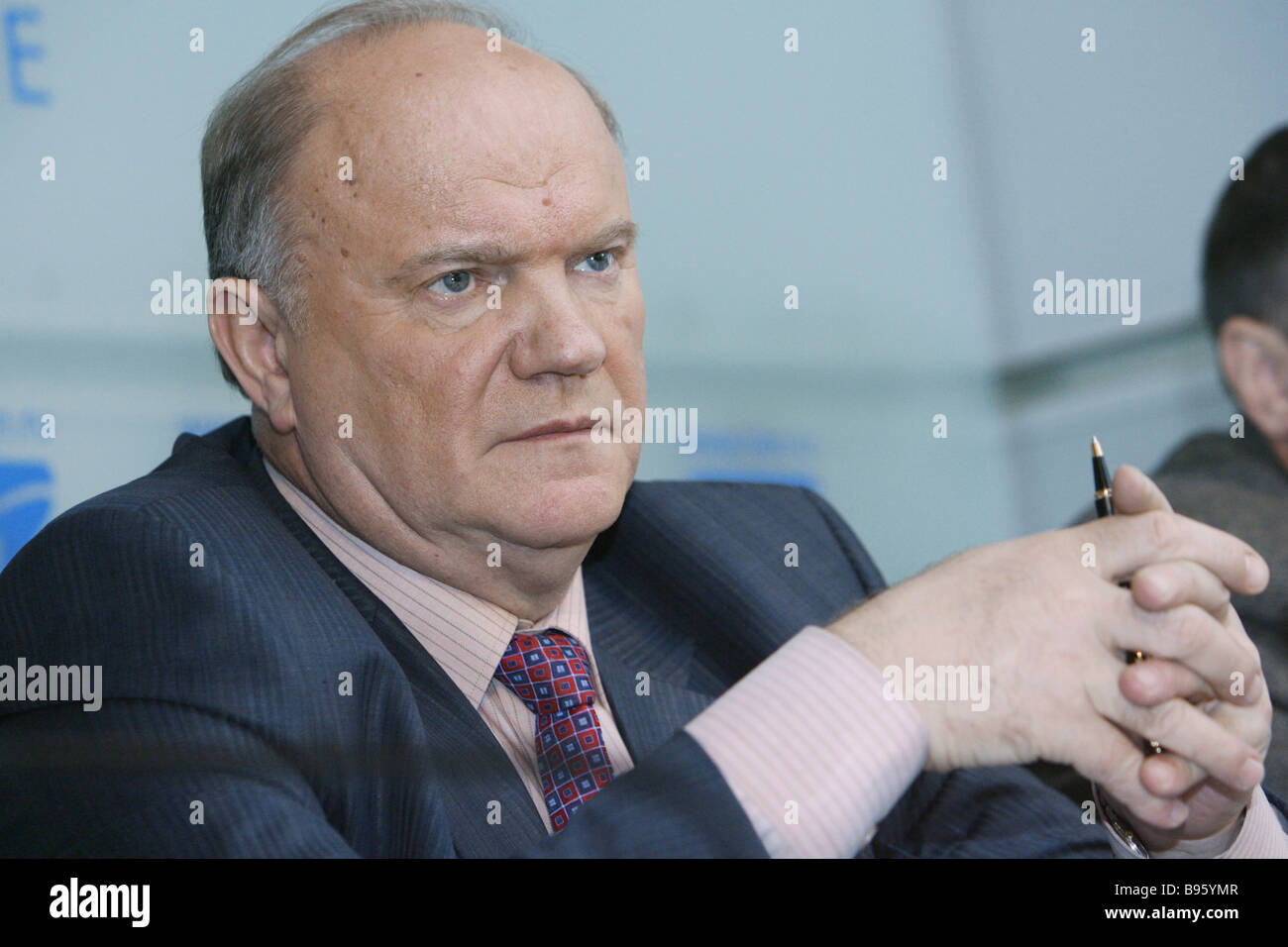 Gennady Zyuganov Chairman of the Russian Communist Party s Central Committee addresses RIA Novosti news conference - Stock Image
