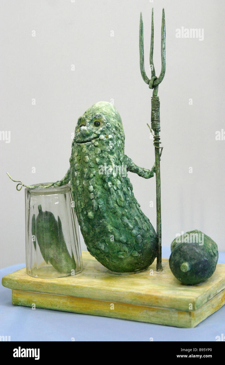 The Walk And Thee Shalt Reach entry of a competition for the Pickled Cucumber monument - Stock Image
