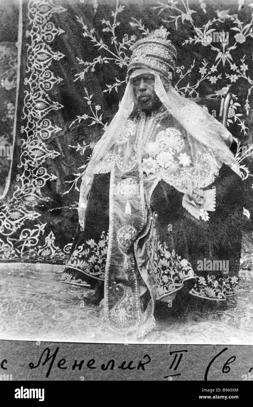 Ethiopian Emperor Negus Menelik II in ceremonial dress - Stock Image