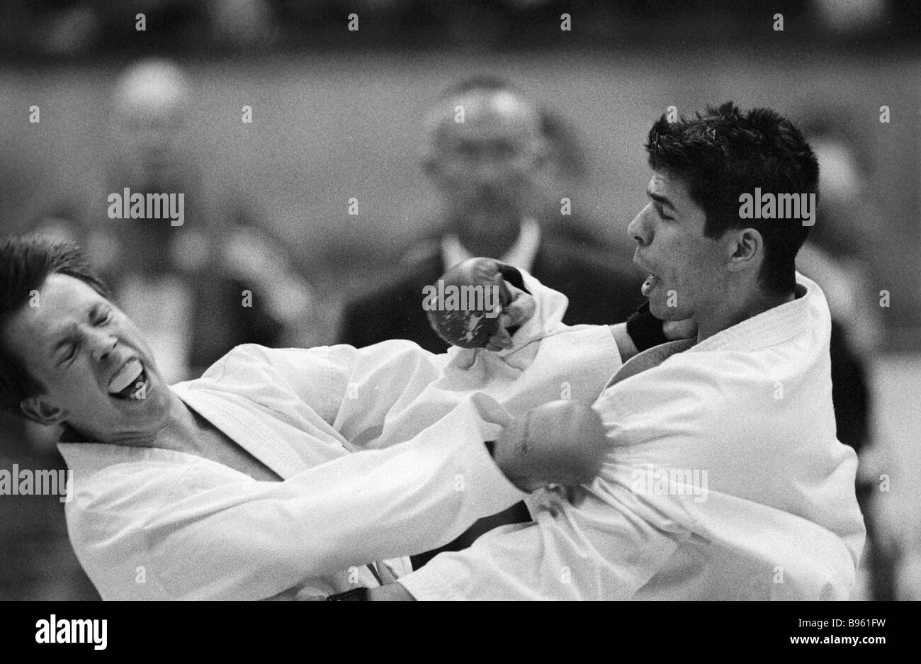 A meet in a European karate championship - Stock Image