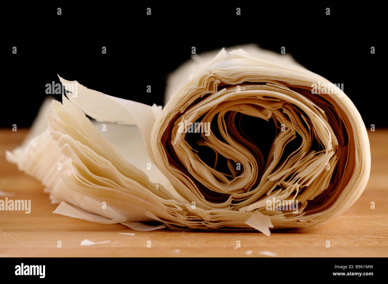 Ready made dough leaves fillo phyllo used for baklava banitsa Stock Photo