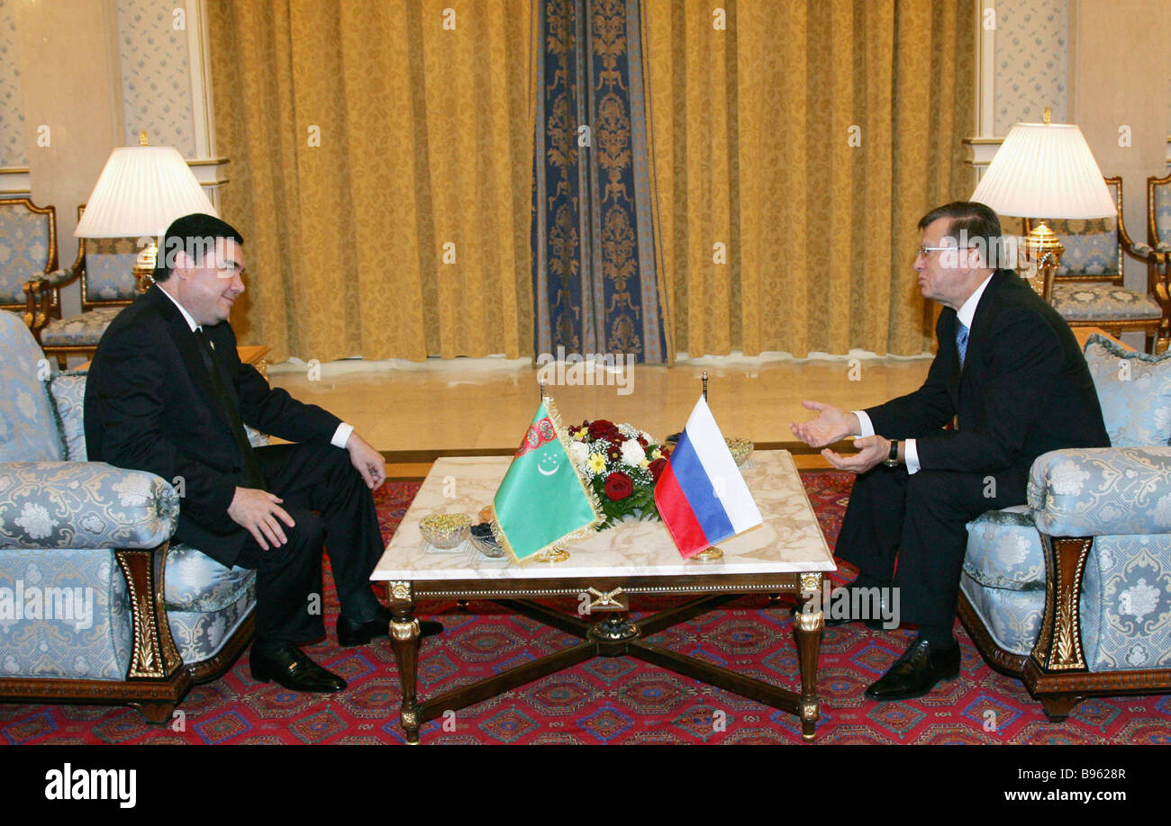 November 23 2007 Russian Prime Minister Viktor Zubkov and Turkmen President Gurbanguly Berdymukhammedov right to - Stock Image