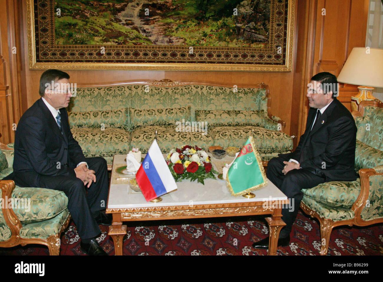 November 23 2007 Russian Prime Minister Viktor Zubkov and Turkmen President Gurbanguly Berdymukhammedov left to - Stock Image