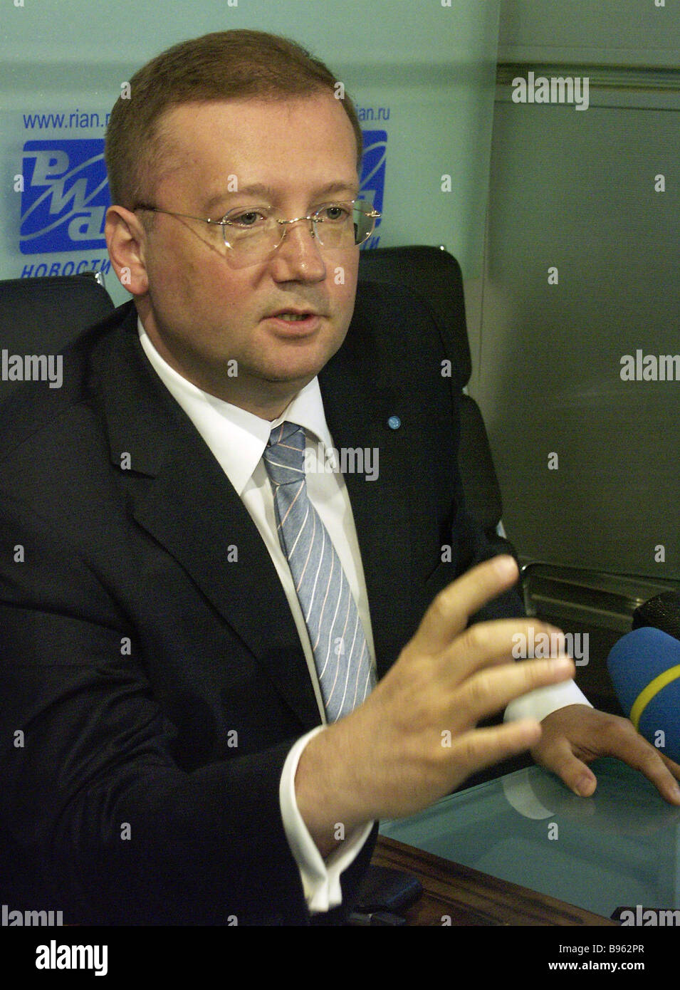Alexander Yakovenko official spokesman of Russia s Ministry of Foreign Affairs addresses a RIA Novosti news conference - Stock Image