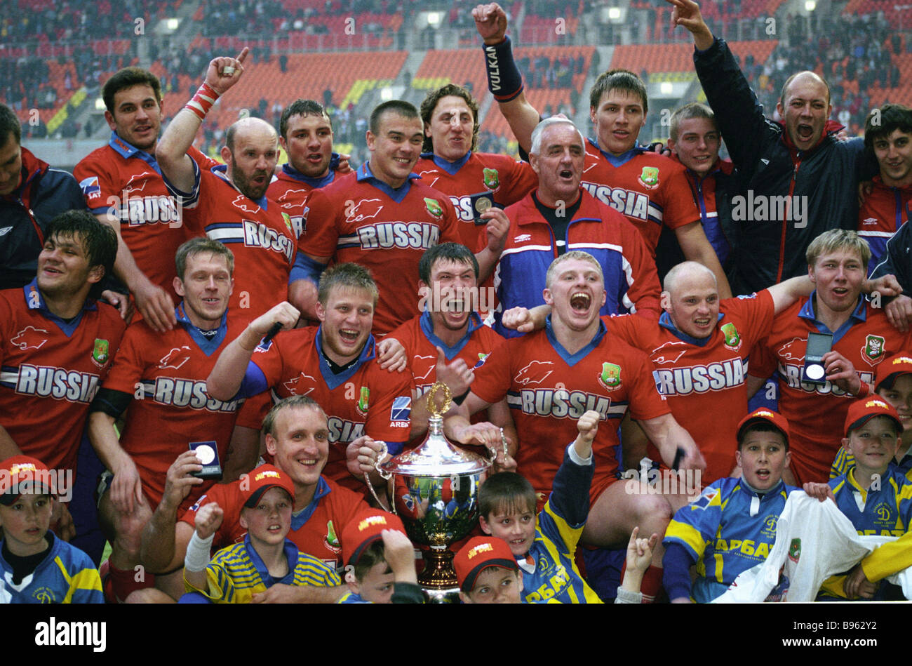 Russia met Britain in rugby Victory Cup finals at the Luzhniki Grand Arena Moscow The hosts won 26 4 - Stock Image