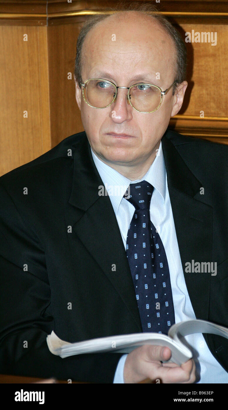 Head of the Federal Taxation Service Mikhail Mokretsov at a government meeting in the Government House Moscow - Stock Image