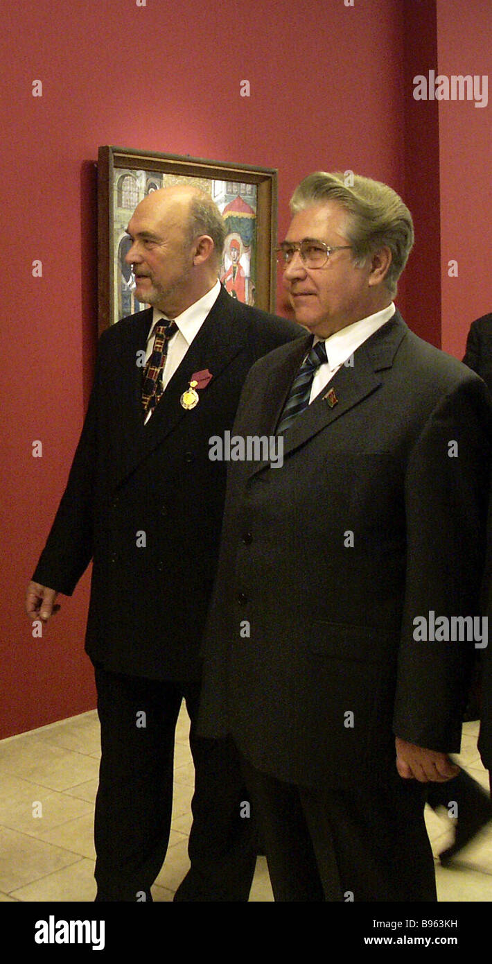 CEO of the Tretyakov Gallery Valentin Rodionov left and ambassador of Belarus to Russia Vladimir Grigoryev at the - Stock Image