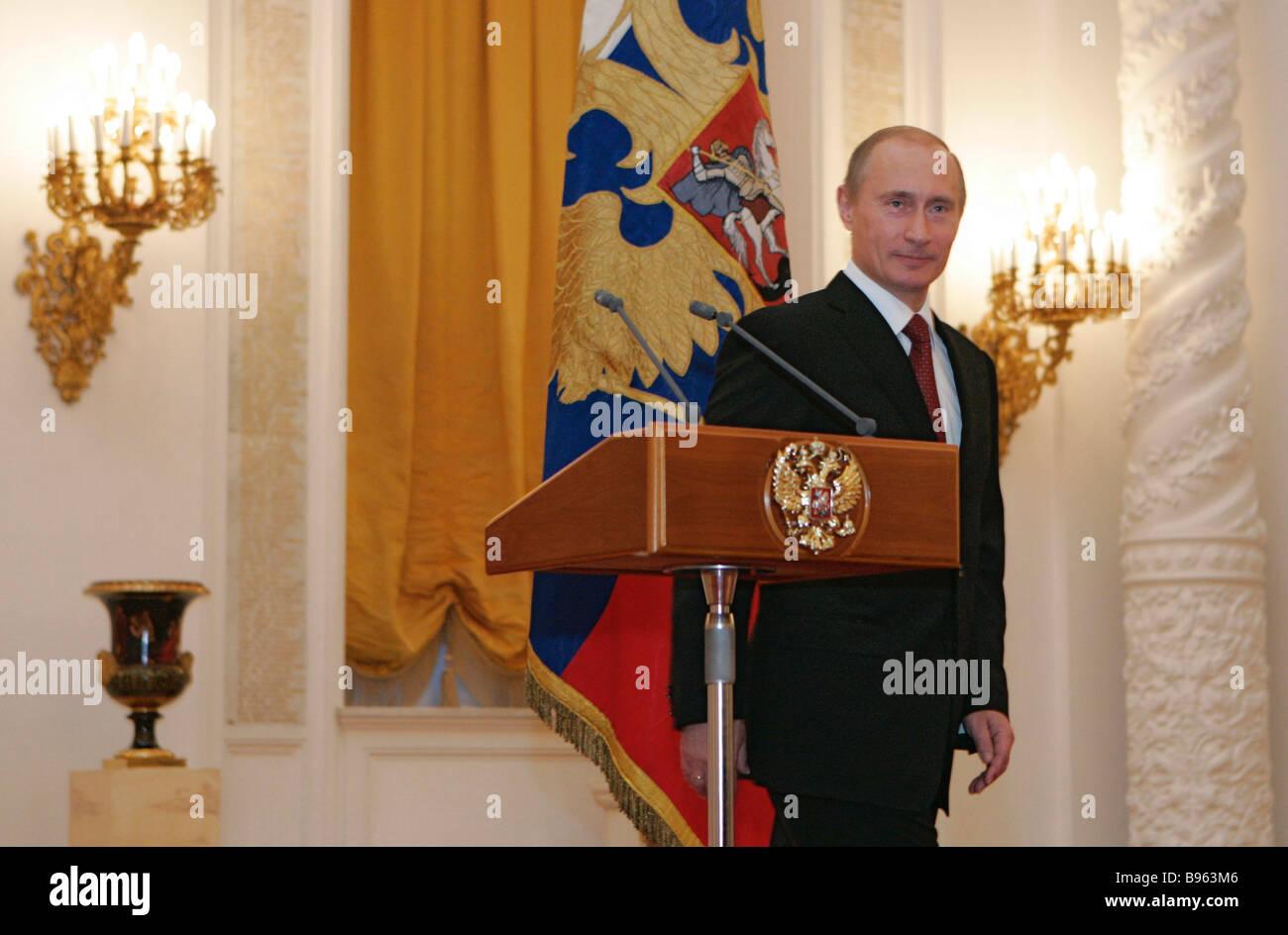 November 28 2008 President Vladimir Putin speaking a meeting with foreign ambassadors at the Kremlin - Stock Image