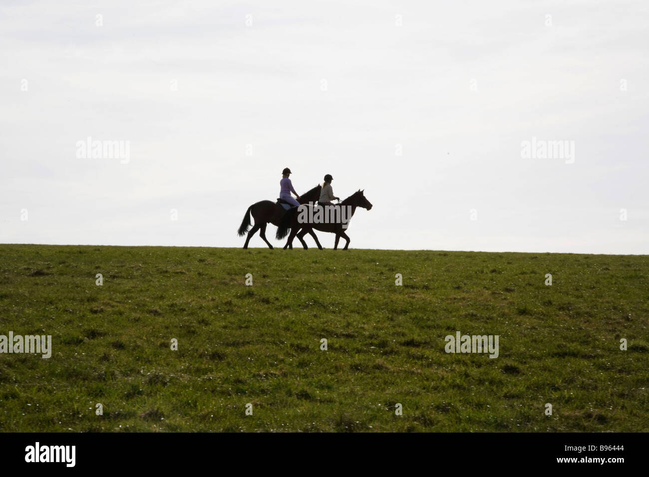 Two rider on Epsom Downs - Stock Image