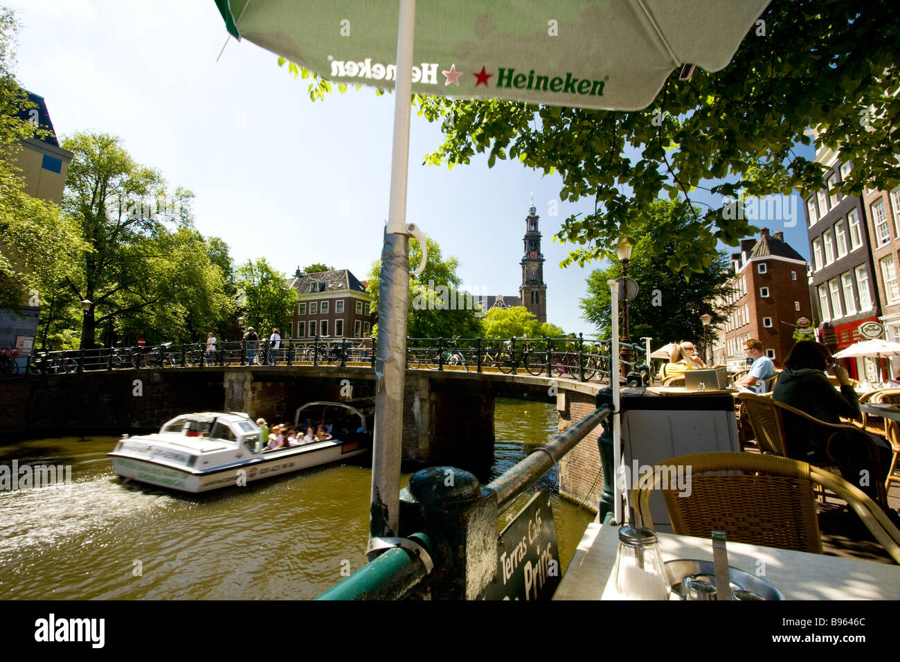 cafe prins on prinsengracht canal - Stock Image